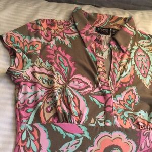 New York & Company Floral Dress Shirt Blouse Small